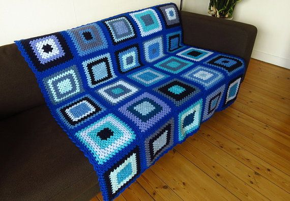 SAVE £25 was £115 NOW £90 (one only) Bright Blue Crochet Blanket Bright Blue Afghan by PhoenixSmiles