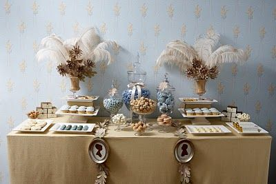 yay! gorgeous!  mimicked this for a legacy tea, would be great for several things!  love incorporating the quill!: Desserts, Dessert Tables, Candy Buffet, Wedding Ideas, Candy Table, Candy Bar, Sweet Table, Party Ideas