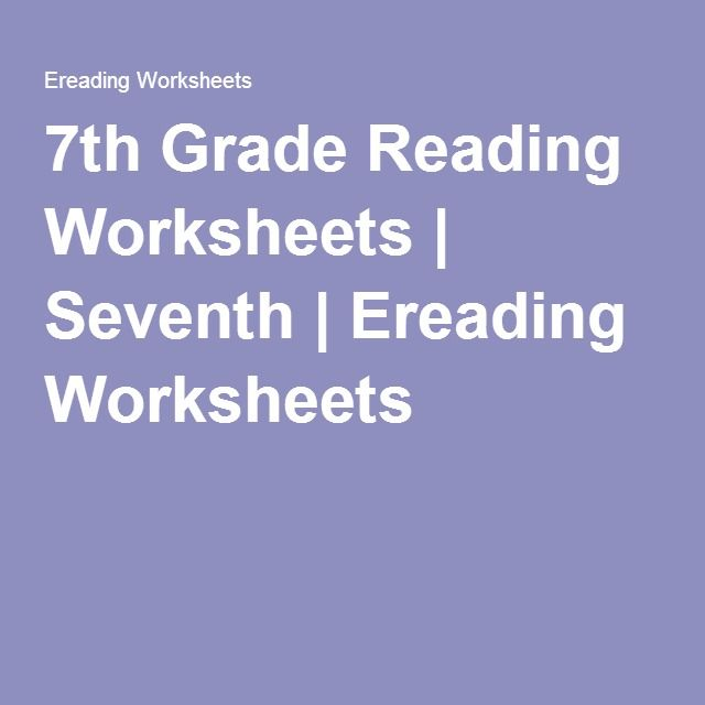 7th Grade Reading Worksheets | Seventh | Ereading Worksheets
