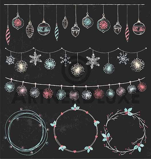 ArtnerDluxe Illustrator and Vector Artist Christmas and Winter 2017 chalk drawing elements
