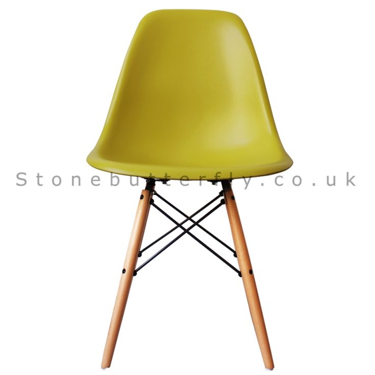 Charles Ray Eames Style DSW Side Chair Natural legs- Mustard