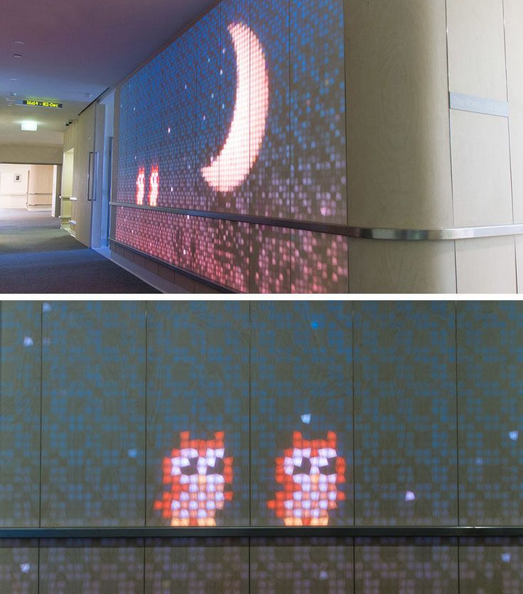 This Children's Hospital Has A Fun Light-Emitting Wood Wall Filled With Moving Animations | CONTEMPORIST