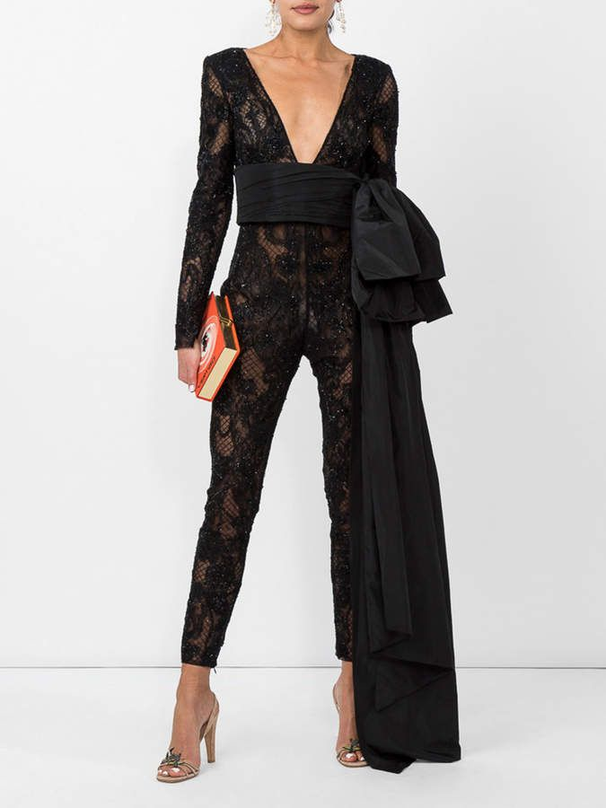 5286f693a68 Dundas Black embellished lace jumpsuit