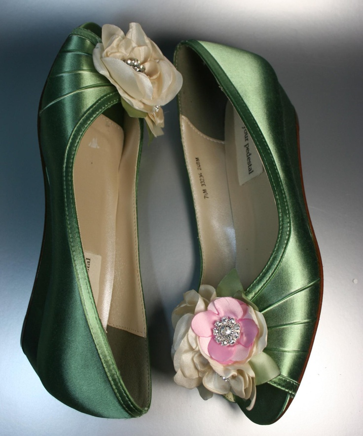 SAMPLE SALE Wedding Shoes -- Clover Green Wedding Wedges with Ivory and Pink Satin Flower Adornment -- Size 7.5 Only. $65.00, via Etsy.