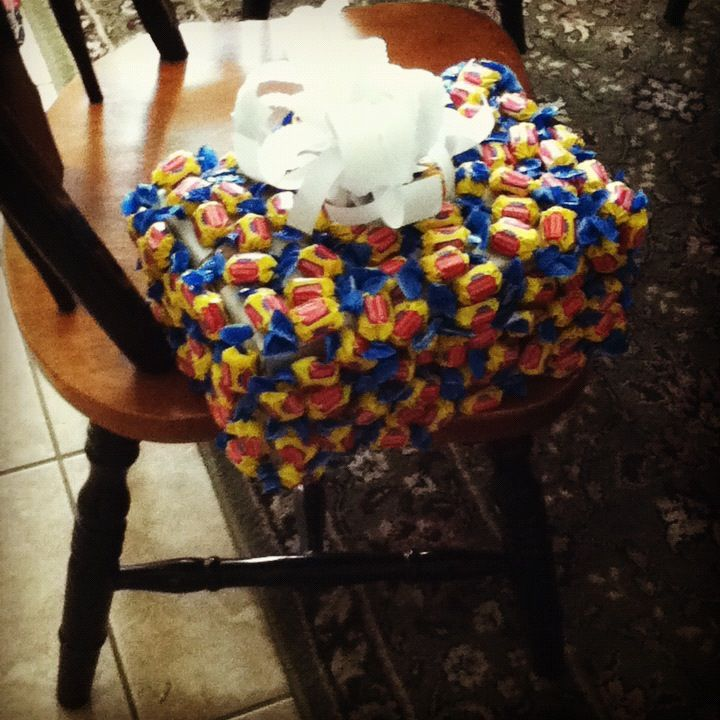 Tape candy all over a present for kids birthday partys. Please teens love it. I have done this like since I was a kid.