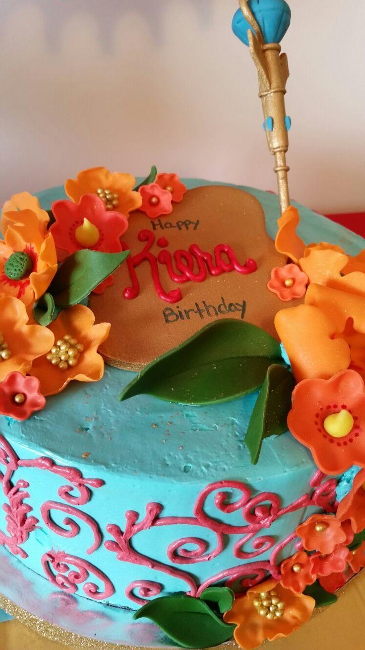 Elena of Avalor cake. Red velvet  swiss meringue buttercream, sugar flowers