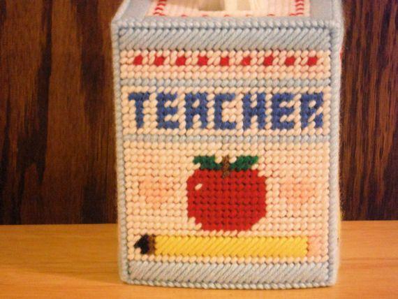 Teacher Tissue Box Cover, plastic canvas, needlepoint item ...