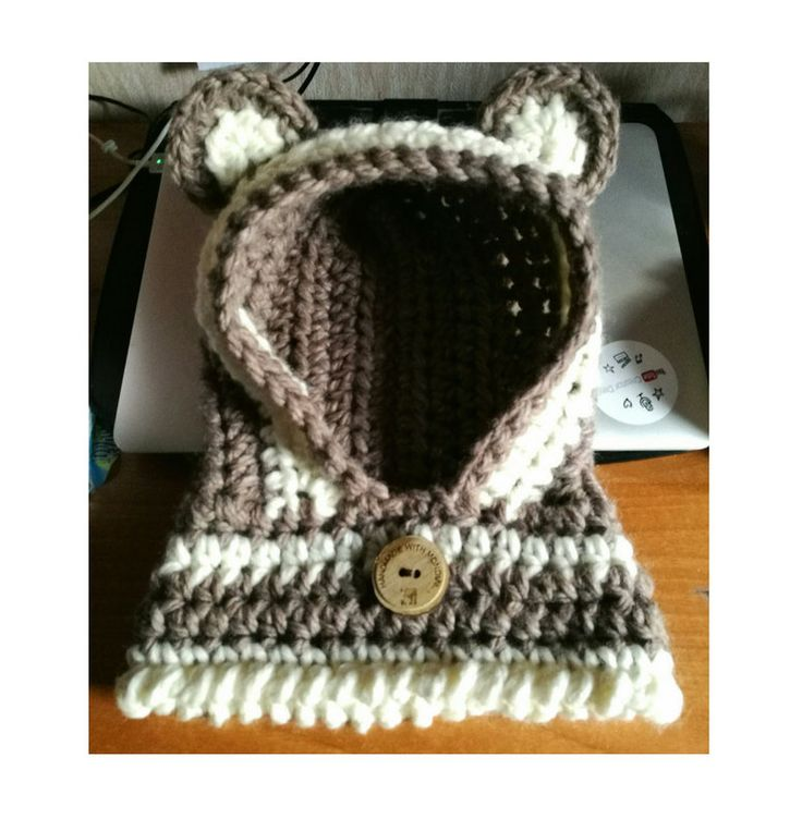 Cappuccio Orsetto - Crochet Bear Cowl di perfiloesegnostore su Etsy