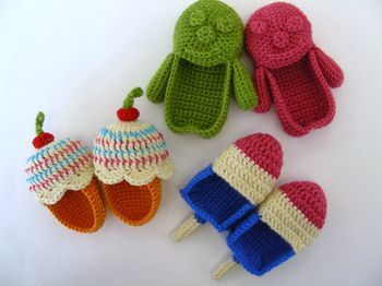 crochet booties-popsicles & ice cream cones!! So cute!