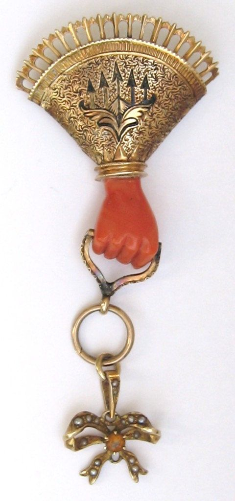 Antique Brooch 14K Gold & Carved Coral Hand Holding by MISSIONMOD, $499.00