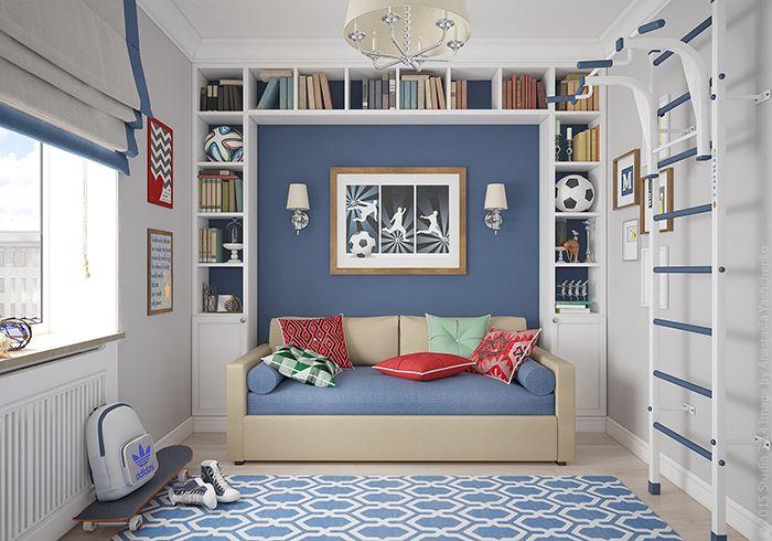 Яркий акцент комнаты - разноцветные подушки на диване-кровати.