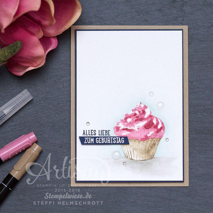Geburtstagskarte - Stampin' Up! - Global Design Project - Cupcake für dich - Aquarelle - Stempelwiese