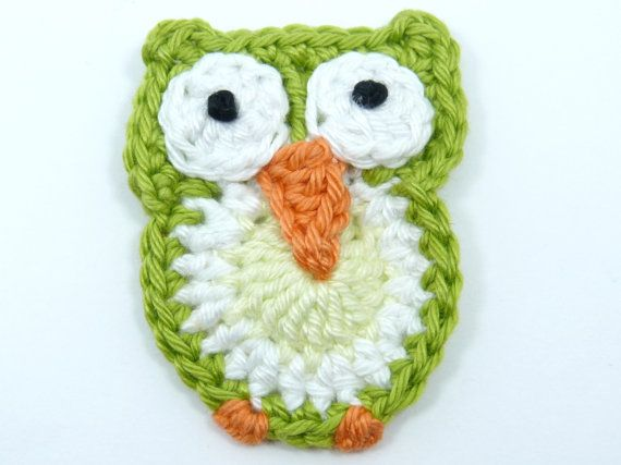 Crochet applique 1 large crochet owl cards by MyfanwysAppliques