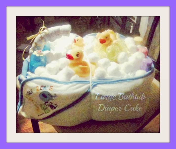 here is another great pic of my large bathtub diaper cake diaper cake dreamers custom designs. Black Bedroom Furniture Sets. Home Design Ideas