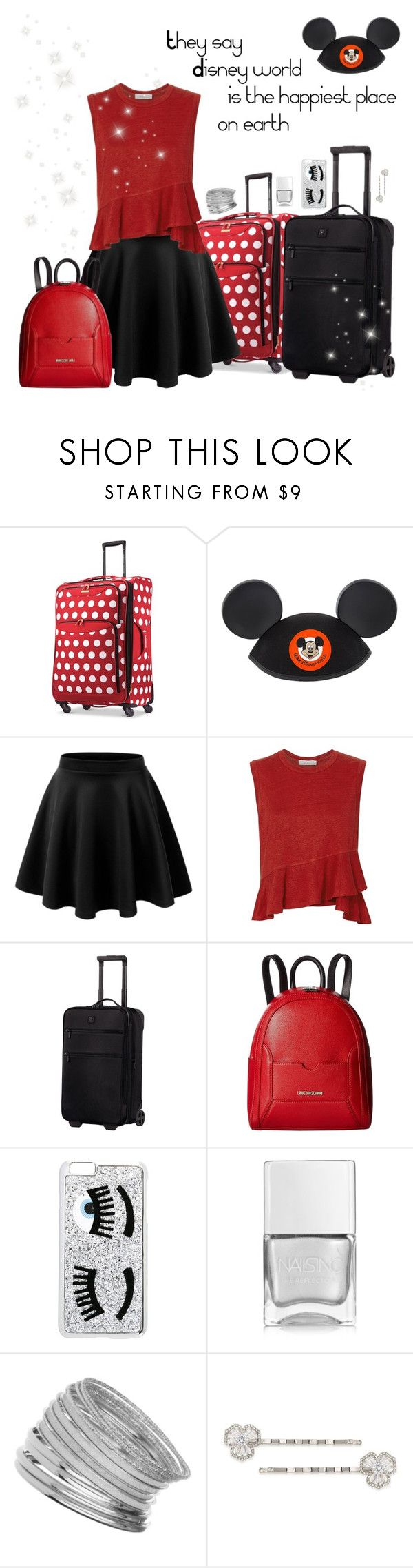 """""""Disney world"""" by dory-speaks-whale ❤ liked on Polyvore featuring Disney, A.L.C., Victorinox Swiss Army, Love Moschino, Chiara Ferragni, Nails Inc., Miss Selfridge and Carolee"""