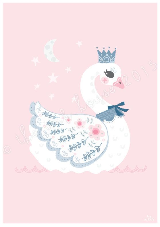 SWAN LARGE PRINT, A3 Large Swan Illustration, Nursery Room Decor, Wall Art, kids, children's, pink, swan lake