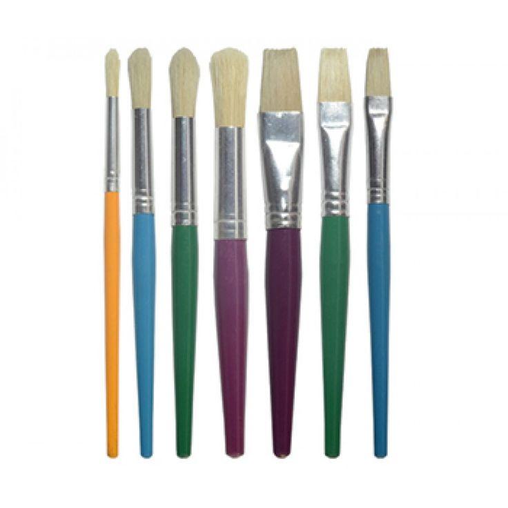 JAS : Childrens Short Handle Brush Set : 7 Mixed Sized Brushes