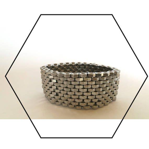 HEXNUTSMADE Peyote stitch bracelet with hex nuts hardware