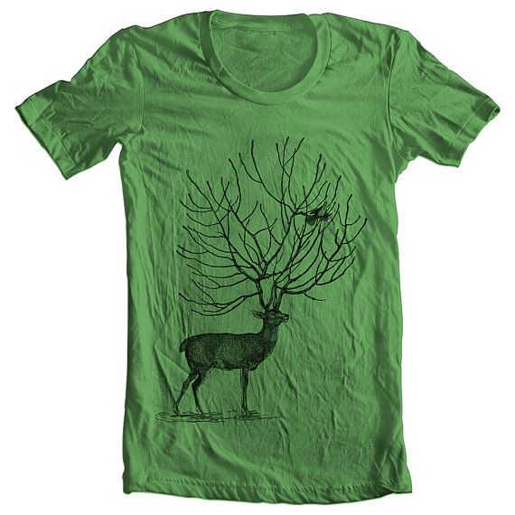 Men's T Shirt Deer American Apparel XS S M by FullSpectrumApparel, $22.00