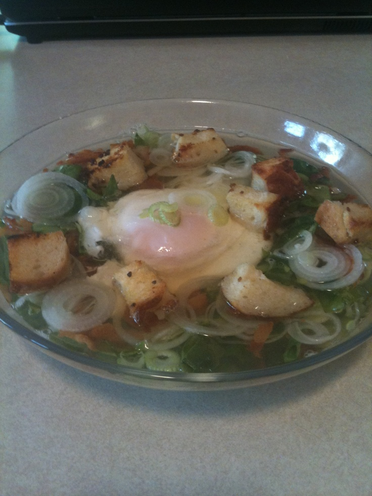 Poached Egg Soup with bacon, spinach, leeks and croutons