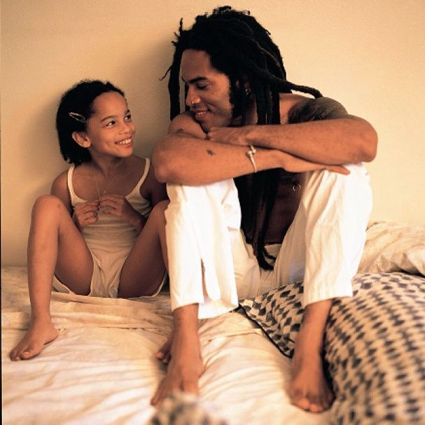 Lenny and Zoe Kravitz. #family #adorable #talented