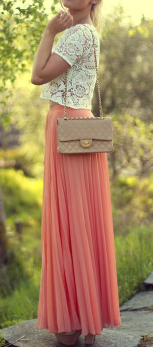 Lace top with the peach maxi and a neutral tone Chanel bag