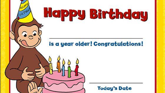 Curious George Birthday Ideas Birthday Certificate PBS Parents – Curious George Birthday Cards
