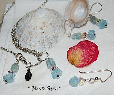 """""""Blue star"""" örhängen och halskedja. Akvamarin ädelsten."""