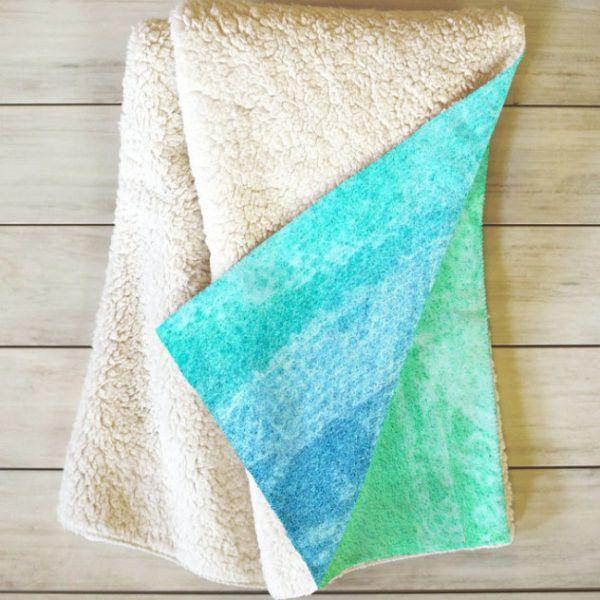 Caribbean Sea Inspired Sherpa Throw Blanket