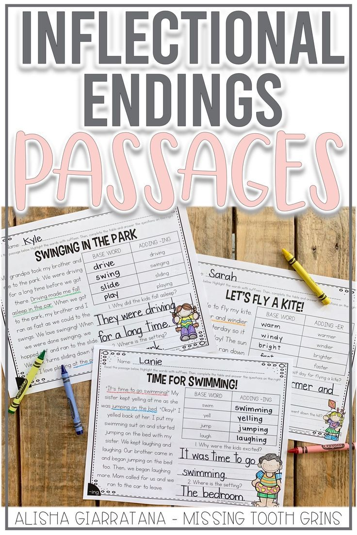 These Activities Are Perfect For Your Students To Learn Their Inflectional Endings Each Worksheet Al Reading Passages Reading Center Activity Teaching Reading [ 1104 x 736 Pixel ]