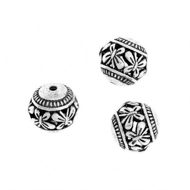 Koraliki metalowe kulki ażurowe do biżuterii oksydowane srebro 14mm 1szt AAS570