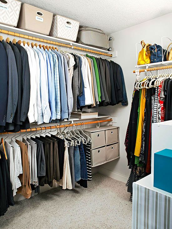 Don't ignore the storage space that's close to the ceiling in a master bedroom closet. Labeled baskets offer great spots for seasonal items. In addition, use as much of the height available as possible by dividing the space with two rods instead of one.