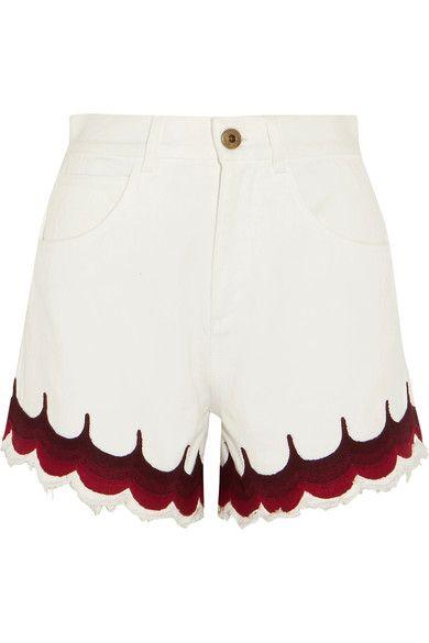 Chloé | Scalloped embroidered denim shorts | NET-A-PORTER.COM