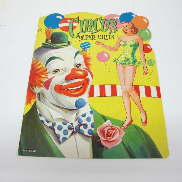 Vintage CIRCUS Paper Dolls 4457 Saalfield Original Uncut Clown Book Elephant Pig #Saalfield