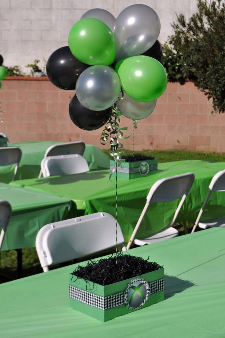 xbox theme birthday party ideas balloon centerpieces and