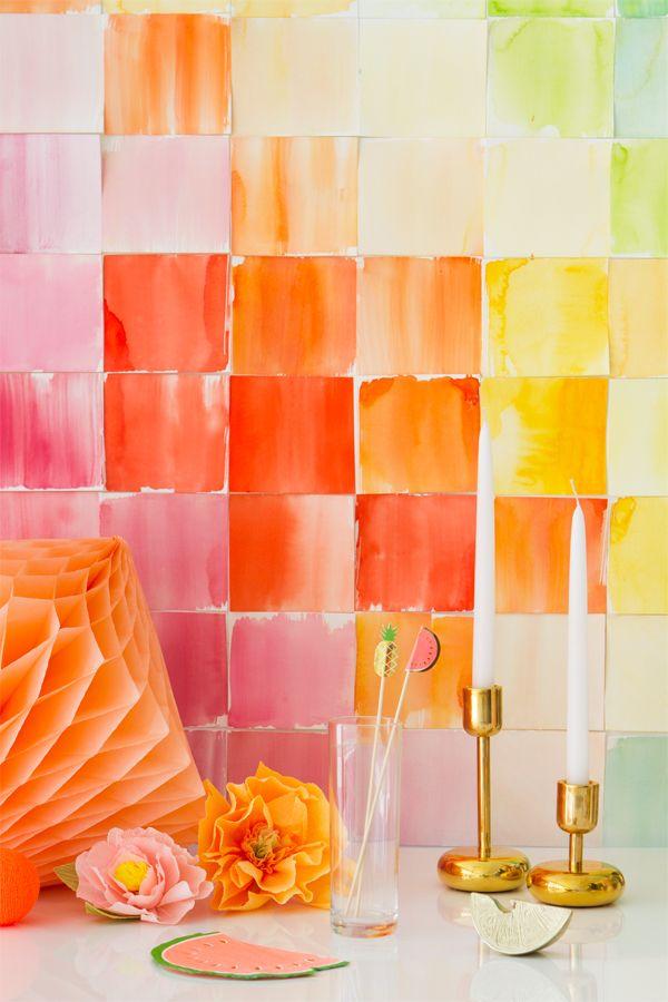 DIY Watercolor Paper Squares Backdrop | www.Homeology.co.za