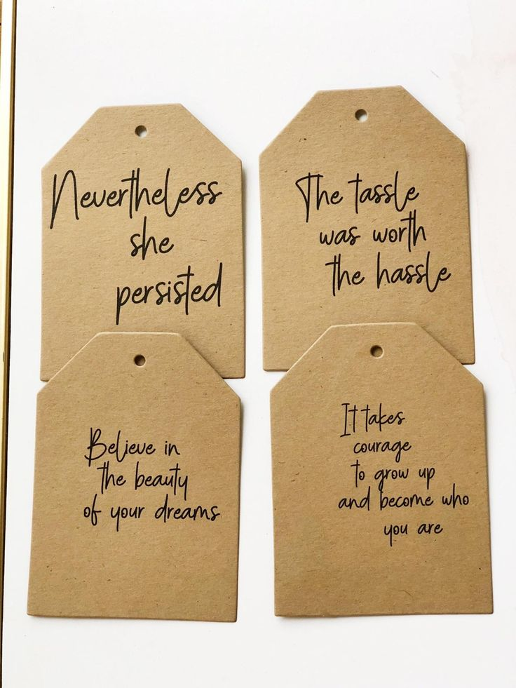 Girl / Guy Graduation Centerpiece Tags - Inspirational Graduation Tags - High School Graduation Decorations - 8 Custom Quote Print Tags