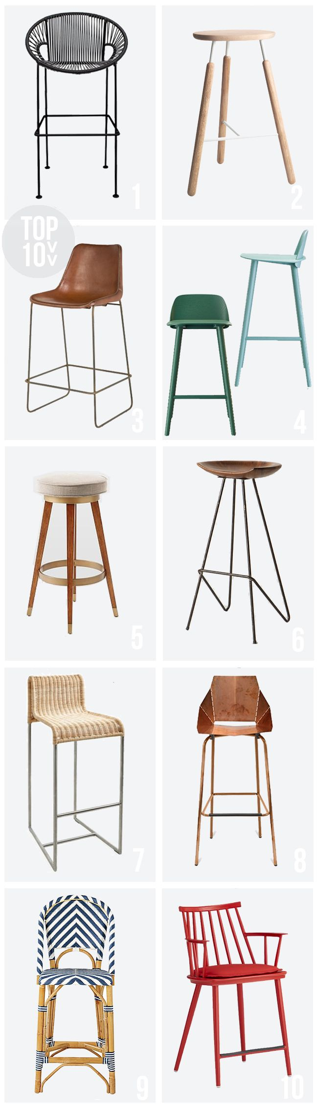 I like the blue and green ones, also the white dipped wood stool