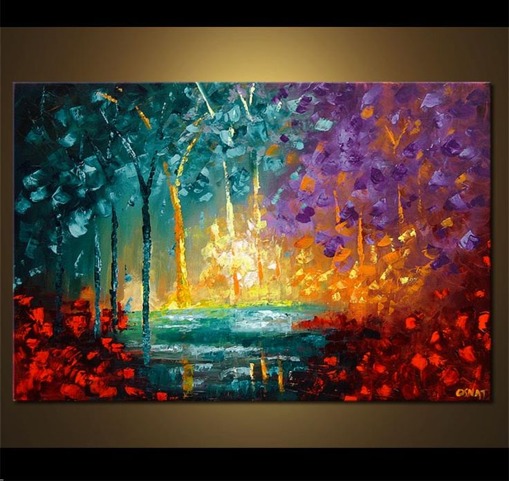 Painting original abstract art paintings by osnat for Painting a forest in acrylics