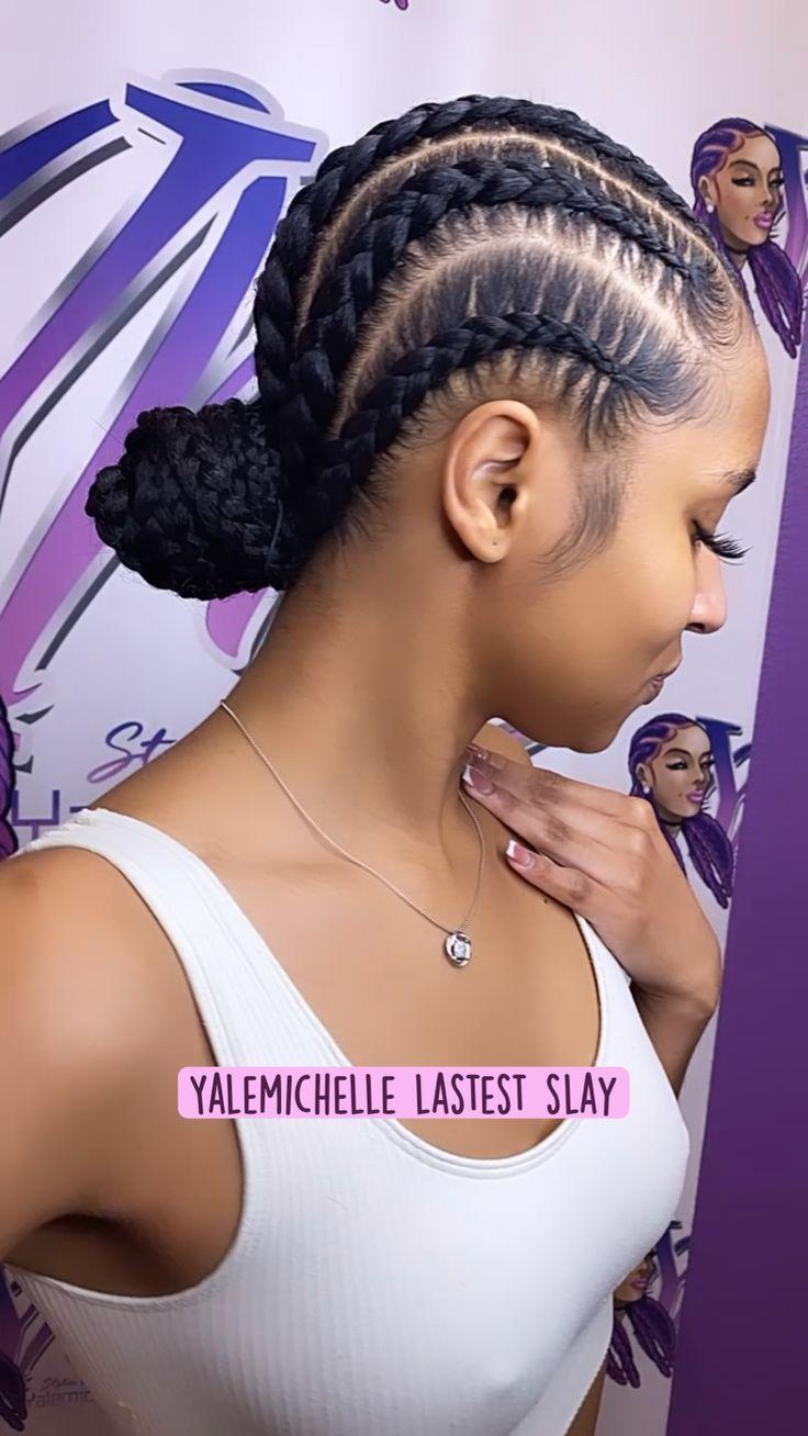 Braids With Natural Hair, Cornrows Braids For Black Women, Box Braids Hairstyles For Black Women, 2 Braids, Long Box Braids, Baddie Hairstyles, Braids For Black Hair, Braid Hairstyles, Lemonade Braids Hairstyles