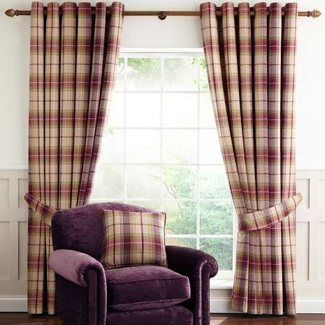 Featuring a check pattern in plum and natural tones, these Dorma curtains are designed with an elegant herringbone weave and fabricated from a durable polycotto...