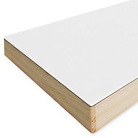 Unsere weiße Tischplatte – nicht aus Linoleum, denn das ist nicht in Weiß produzierbar, sondern aus hochfestem Laminat. Der... - Tischplatte HPL