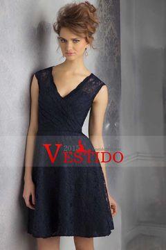 2015 V-cuello una línea por encima de la rodilla Vestidos de dama de honor de longitud de encaje US$96.99 VEPAMAXPEX - Vestido2015.com