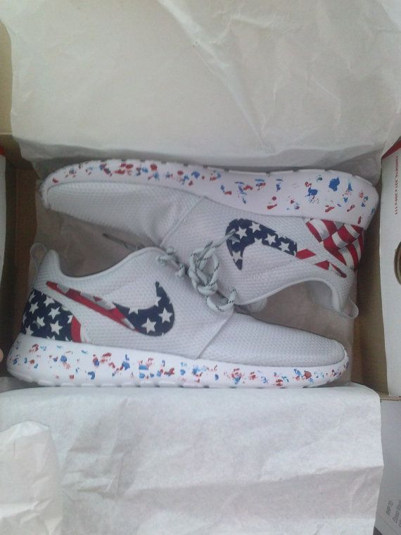 pretty nice f1fbe f3781 Nike Roshe Run American flag pride custom men by DFWroshecustomz