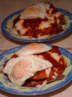 New Mexico Style flat Enchiladas with egg on top.