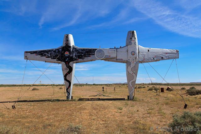 The installations Plane Henge in the Mutonia Sculpture Park along the Oodnadatta Track