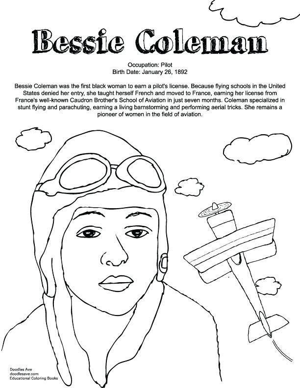 Bessie Coleman Coloring Sheets 2 By Kayla Black History