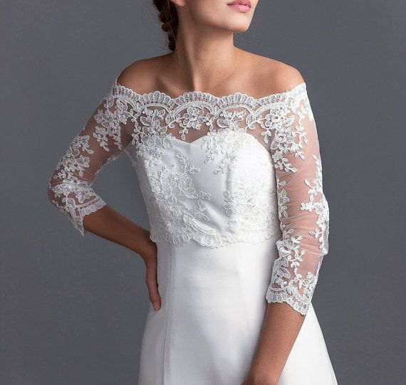Off-shoulder lange mouw bruiloft topper bruids door LovelyLaceBridal