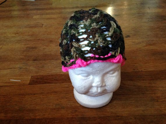 Baby girl camo and pink beanie on Etsy, $5.00