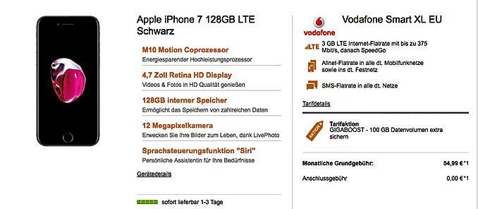Apple iPhone 7 128GB mit Vertrag für 1,00€ zum Vodafone Smart XL EU bei der Tarifaktion mit dem GIGABOOST vonVodafone mit 100 GB Datenvolumen extra Sichern für den 1 Monat , im Smart XL EU inkl.   #Apple iPhone 7 #Vodafone Mobilfunk
